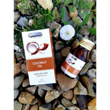 Кокосовое масло первый холодный отжим, 30мл, стекло, Hemani