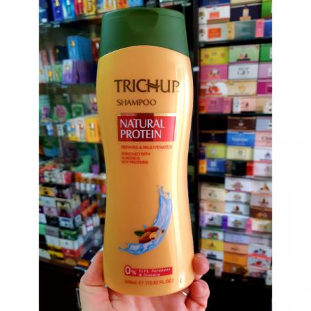 Шампунь Trichup Тричуп Vasu Васу Натуральный протеин, с натуральным протеином, Индия, 400мл